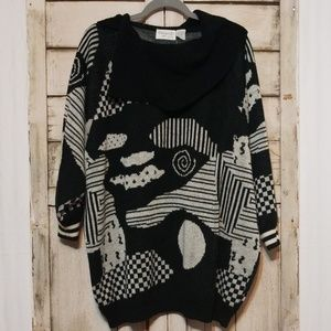Vintage 90s Oversized Black White Slouch Sweater